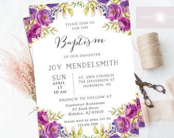 Christening Invite, Purple Baptism Invitation, Cross Invite, LDS Baptism Invite, First Communion, Confirmation, Printable, jadorepaperie