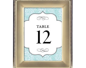 Table Numbers - Tiffany Blue Glam Flower Bursts / Wedding / Bridal Shower / Baby Shower / Birthday Party