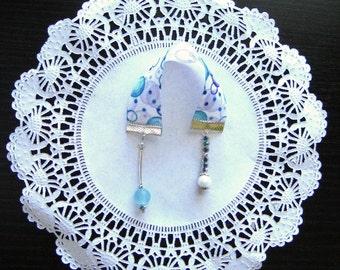 Blue bookmark, ribbon bookmark, beaded bookmark, short bookmark, bible bookmark, white bookmark, delicate bookmark, men bookmark, gift