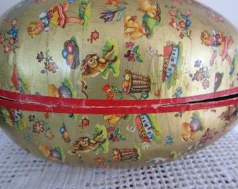 Vintage Paper Mache Easter Egg Extra Large Adorable Images Gold Foil West Germany