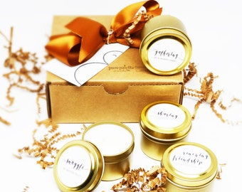 10 Gift Sets - Winter Collection Soy Candles in 2 Oz. Travel Tin and Written Personalized Gift Tag with Free Shipping in the U.S.
