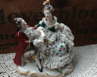 Dresden Seated Lady Kneeling Man Figurine, Porcelain Lace Figurine, Collectible Figurine, Woman Figurine, Man Figurine, Antique Porcelain