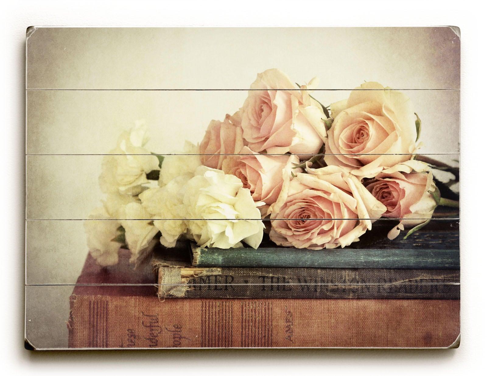 Wood Wall Art, Vintage Style Decor, Wood Sign, Flowers on Books ...