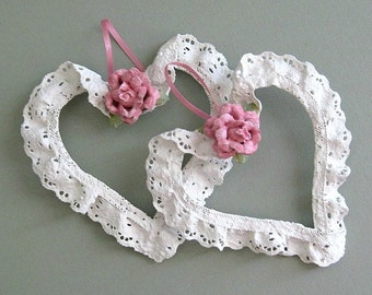 Shabby Chic Heart Decor Clay Flower Heart Ornament Pink Rose Heart Floral Heart White Heart Wall Heart Decoration Cottage Chic Heart Lace
