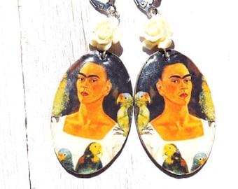 Oval Frida Kahlo Lever Back Earrings