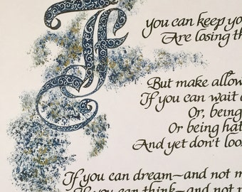 Father's Day, If, Rudyard Kipling, Calligraphy, 11x17,Print of original, Calligraphy Art/paper only