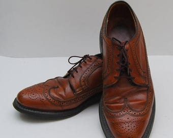 SALE mens 1960s brown leather wingtop oxford shoes
