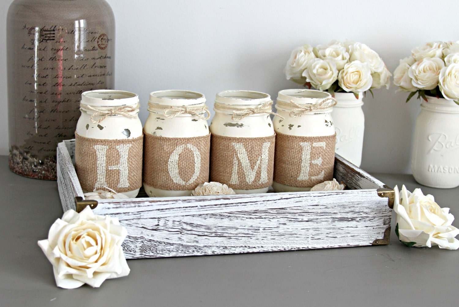 Rustic Housewarming Gift Rustic Table Decor Rustic Home Decor Realtor Gift Table