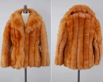 Vintage 70s shearling fur and leather panel DINO RICCO jacket / Ultra fluffy lamb fur / Bohemian glam coat