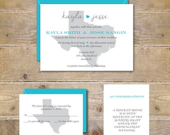Texas Wedding Invitations, Wedding Invitations, State Wedding Invitations, State Silhouette, Texas, Summer Wedding, Affordable Wedding