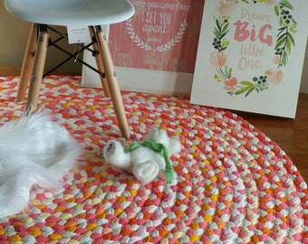 "48"" coral and yellow  braided nursery rug, made to order, created from new and recycled t shirts"