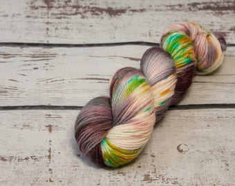 Forest Fairy Sprinkles - Hand dyed DK yarn, merino, purple, yellow, green, blue, speckles, dk yarn, variegated
