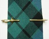 Vintage Sword Tie Clip w/ Mother of Pearl Handle - Gold Tone Metal Necktie Clip