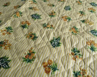 Vintage Quilted Glazed Chintz Yellow Floral Fabric Stripe Roses Lily of the Valley