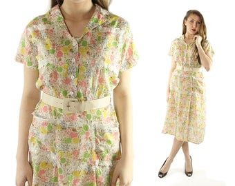 Vintage 40s Floral Day Dress Cotton Gauze Short Sleeves Button Up 1940s Large L