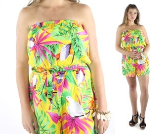 Vintage 80s Strapless Romper Hawaiian Shorts Playsuit Jumpsuit Yellow Tropical Flowers 1980s Large L Dress Sundress