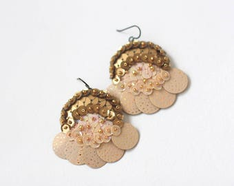 Half Moon Earrings, Cosmic Night Stars, Beige Gold Earrings, Felt Sequin Embroidery, Contemporary Modern Jewelry, Sparkle Hologram Stars