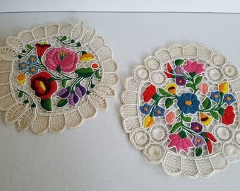 Vintage Pair of Brightly Colored Embroidered Floral Doilies