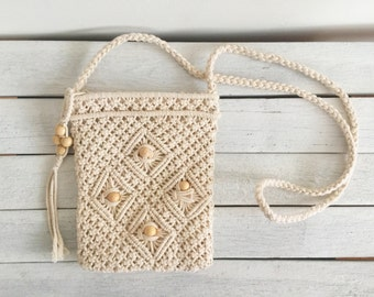 Vintage cream white macrame bag, crossbody purse, shoulder sling, small wallet purse, woven, embroidered, beaded