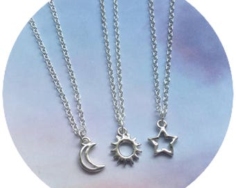 Dainty Silver Sun, Moon or Star necklace, Minimalist Jewelry