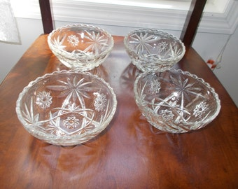 """Set of 4 CEREAL Bowls Oatmeal Glass 5"""" bowls"""