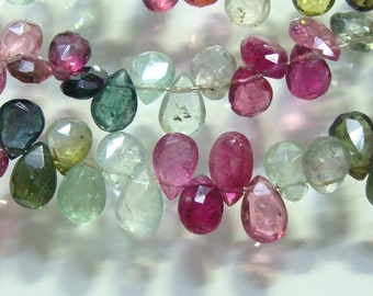 1/2 Strand, 6-7mm, Gorgeous blue Green and Pink tourmaline faceted pear beads briolettes
