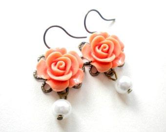 Children Earrings Rose Bridesmaid Earrings Flower Girl Earrings Pearl and Flower Earrings Little Girl Earrings Wedding Jewelry for Girls
