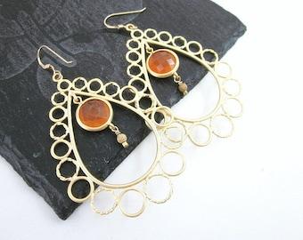Aventurine Earrings -- Orange Teardrop Earrings -- Orange & Gold Earrings -- Teardrop Gem Earrings -- Bubble Earrings -- Orange Gem Earrings