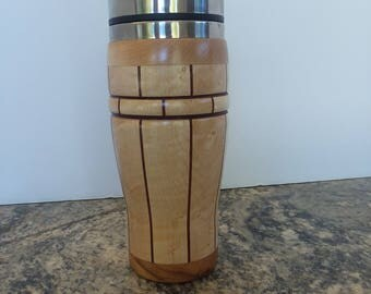 Birdseye maple and purpleheart travel mug with stainless steel liner.  #H