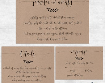 Rustic Wedding Invitation Set / Kraft Wedding Invite Set / Modern Vintage Wedding  Invitation / Printed