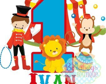Circus Birthday IRON ON TRANSFER- Personalized Name - Tshirts - Birthday - Lion Monkey Circus Juggler