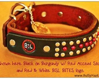BSL BITES™ Lux - Custom Leather Dog Collar, Bsl Sucks, End Bsl, Pit Bull, Doberman, Rottweiler, Cane Corso, American Bully, German Shepherd