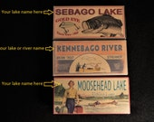 Personalized nostalgic lake house fishing cabin decor fishing lure boxes