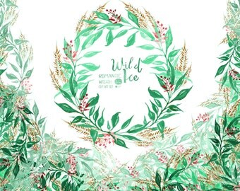 Watercolor Floral Wreaths// Wild Ice :Christmas Wreath, Boho Wreaths,  Romantic Wreaths, Watercolor, Floral Clip Art, Hand painted