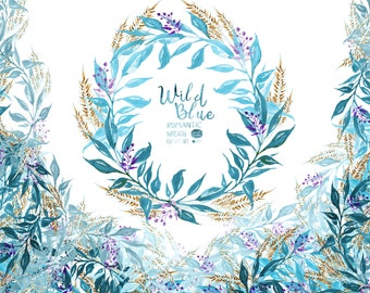 Watercolor Floral Wreaths// Wild Blue: Boho Wreaths,  Romantic Wreaths, Wedding Wreath, Watercolor,Floral ClipArt,Handpainted, Winter Wreath