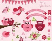 65%OFF SALE Valentine clipart, Be my Valentine vector clipart, Valentine owl clipart, Valentine heart clipart, flower clipart, banner clipar