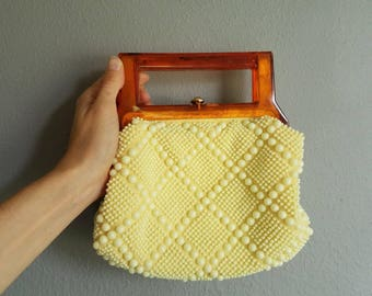 Vintage YELLOW BEADED LUCITE Handle Handbag 60s