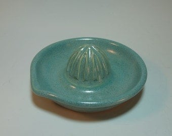 Frosty Aqua Hand-Carved Citrus Juicer with pour Spout - Wheel Thrown In stock