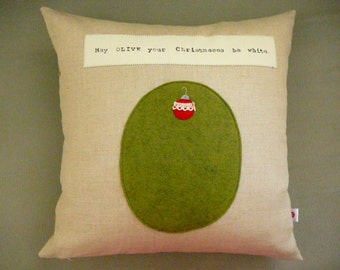 Holiday Pillow - Cover - May Olive Your Christmases Be White - Christmas - Holiday Decor