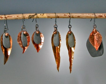 Hand-fabricated leaf-shape earrings with beach stone and recycled/vintage beads