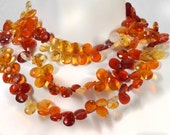 Mexican Fire Opal Faceted Pears Flat Teardrops Brilliant Yellow Orange Rust Earth Mined Gems - 3 Inches - 20 Beads - 7x5 to 9x6mm