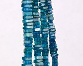 ON SALE Neon Blue Apatite Heishi Cubes Heishi Squares Flat Squares Deep Blue Electric Blue Earth Mined Gemstone - 4-Inch Strand - 3.5mm