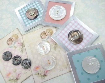 Sew Charming Vintage Mother Of Pearl MOP Shell Sewing Buttons On Crafty Display Cards Lot Collection
