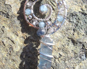 Sacred Spiral//Sweet Surrender/Blue Kyanite, Aquamarine, Pakimer Quartz, And Sterling Silver Wire Wrap Pendent, Handmade, One of a Kind, Art