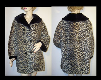 Caramel brown & black 1960s leopard print faux fur jacket ~ XL Extra Large Plus ~  shawl platter collar ~ short mini coat cheetah animal