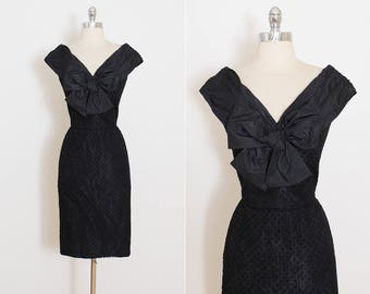 Vintage 50s Dress | 1950s Lanvin dress | flocked lace desiger dress | xs/s