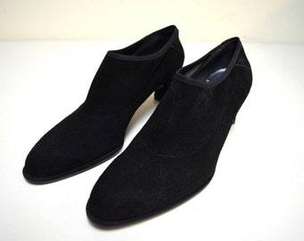 STUART WEITZMAN Black Stretch Suede Pumps Booties Heels Size 6.5 M