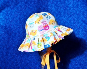 Baby Girl Sun hat Jelly Fish Ruffled Brim