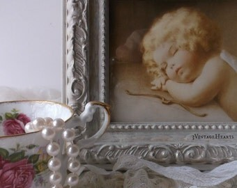 Bessie Pease Gutmann Framed Art.  Vintage Victorian Sleeping Cupid. French Cottage Chic Painted Frame. Nursery. Shower Gift. Taupe Gold