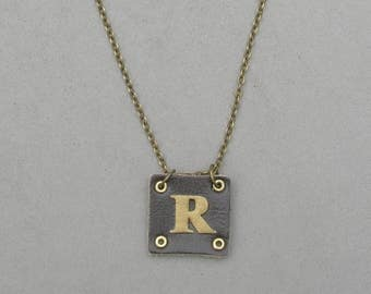 Square Leather R Necklace